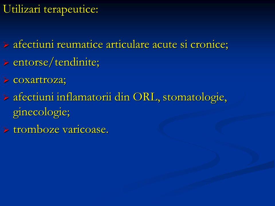 Utilizari terapeutice: afectiuni reumatice articulare acute si cronice; afectiuni reumatice articulare acute si cronice; entorse/tendinite; entorse/te