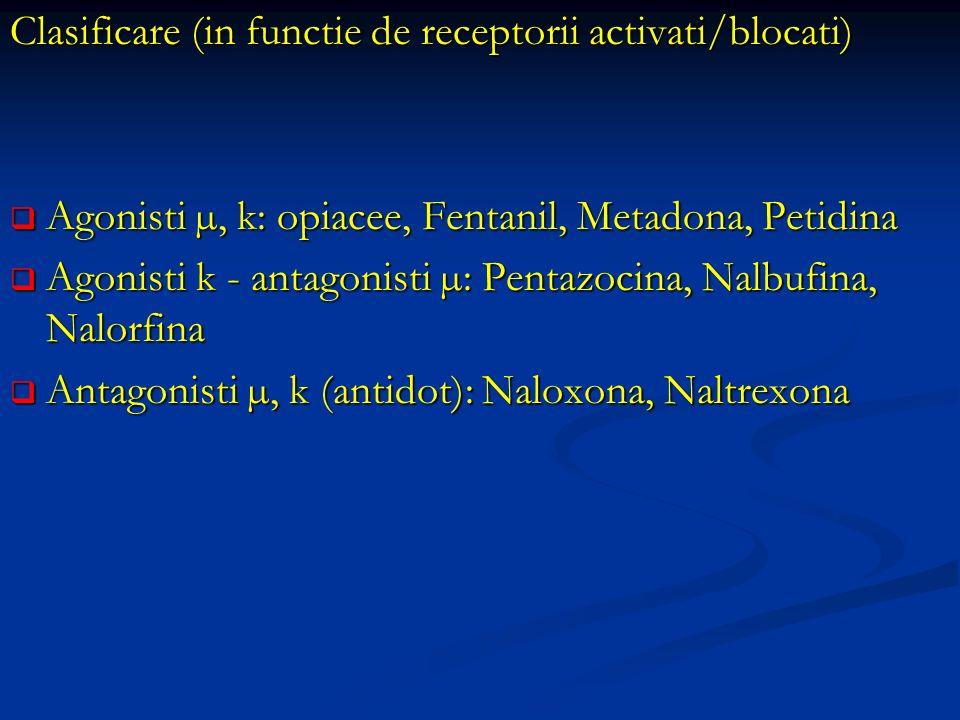Clasificare (in functie de receptorii activati/blocati) Agonisti µ, k: opiacee, Fentanil, Metadona, Petidina Agonisti µ, k: opiacee, Fentanil, Metadon