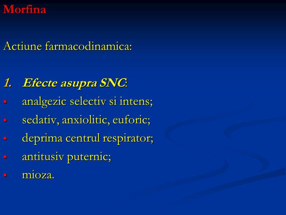 Morfina Actiune farmacodinamica: 1.Efecte asupra SNC: analgezic selectiv si intens; analgezic selectiv si intens; sedativ, anxiolitic, euforic; sedati