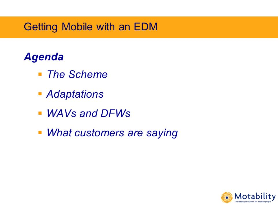Getting Mobile with an EDM Agenda The Scheme Adaptations WAVs and DFWs What customers are saying