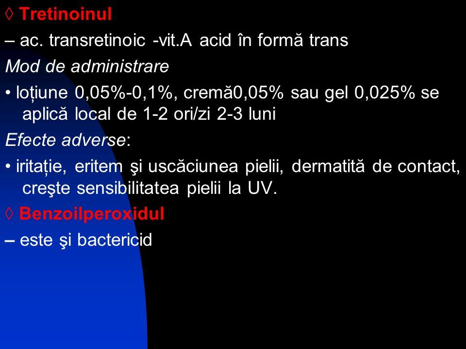Tretinoinul – ac. transretinoic -vit.A acid în formă trans Mod de administrare loţiune 0,05%-0,1%, cremă0,05% sau gel 0,025% se aplică local de 1-2 or