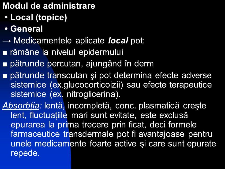 Modul de administrare Local (topice) General Medicamentele aplicate local pot: rămâne la nivelul epidermului pătrunde percutan, ajungând în derm pătru