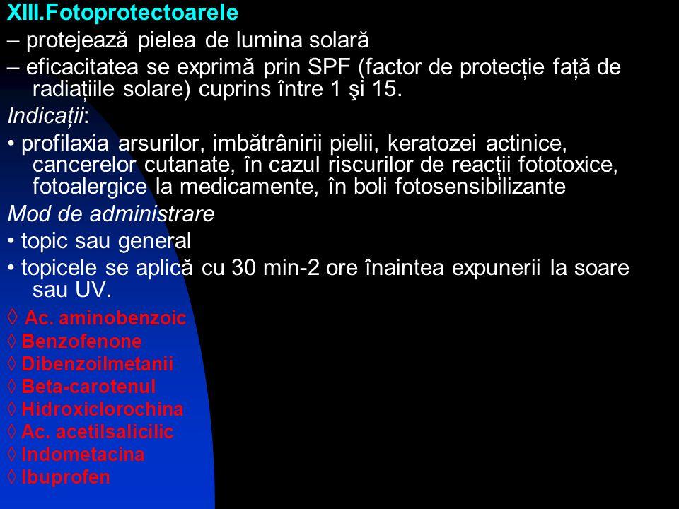 XIII.Fotoprotectoarele – protejează pielea de lumina solară – eficacitatea se exprimă prin SPF (factor de protecţie faţă de radiaţiile solare) cuprins
