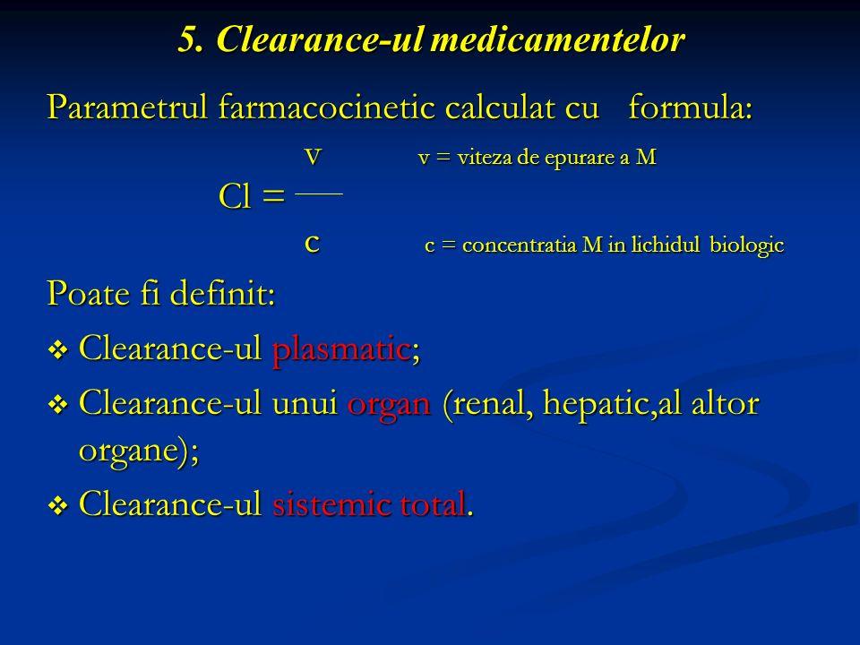5. Clearance-ul medicamentelor Parametrul farmacocinetic calculat cu formula: v v = viteza de epurare a M v v = viteza de epurare a M Cl = c c = conce