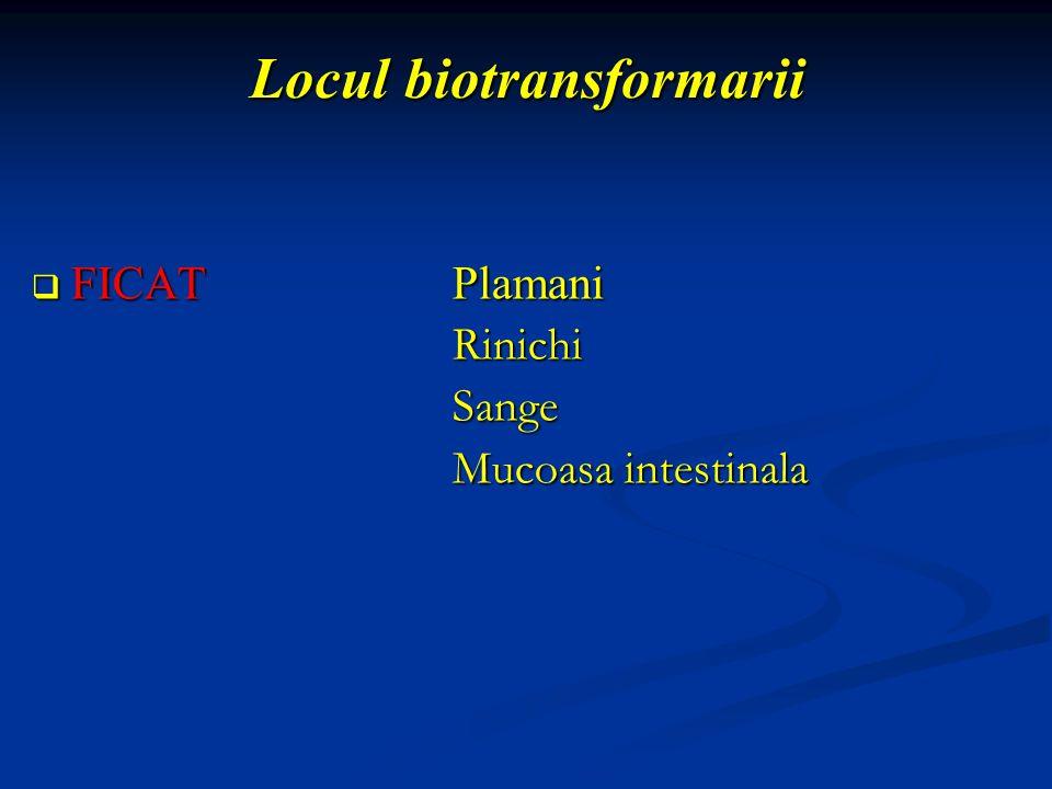 Locul biotransformarii FICATPlamani FICATPlamaniRinichiSange Mucoasa intestinala