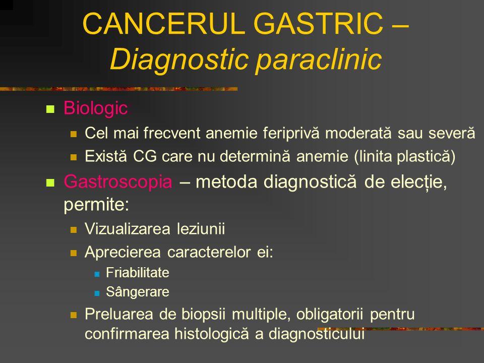 CANCERUL GASTRIC – Diagnostic paraclinic Biologic: Cel mai frecvent anemie feriprivă moderată sau severă Există CG care nu determină anemie (linita pl