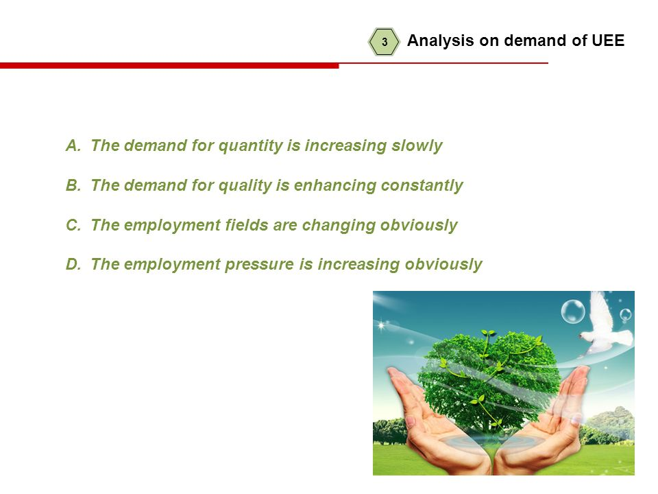 A.The demand for quantity is increasing slowly B.The demand for quality is enhancing constantly C.The employment fields are changing obviously D.The employment pressure is increasing obviously 3 Analysis on demand of UEE