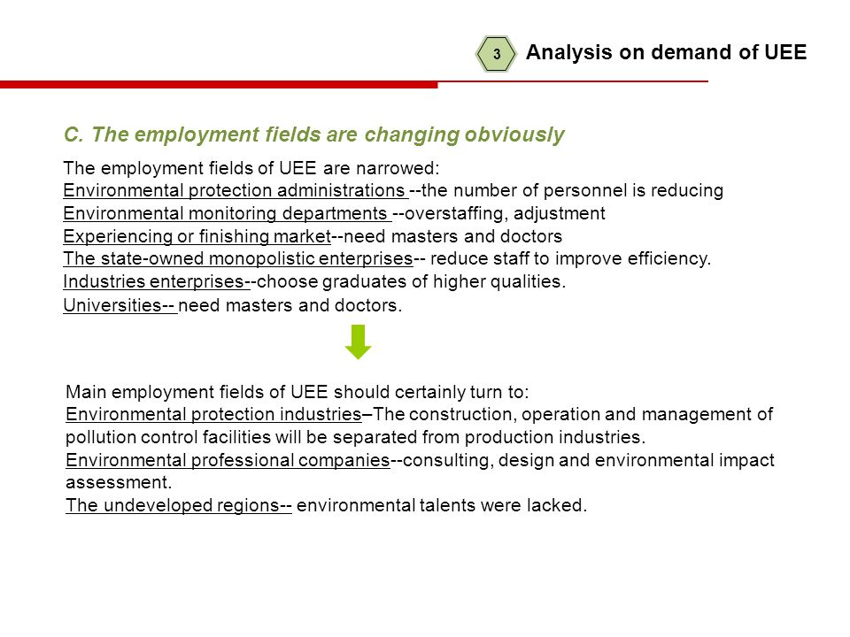 C. The employment fields are changing obviously The employment fields of UEE are narrowed: Environmental protection administrations --the number of pe
