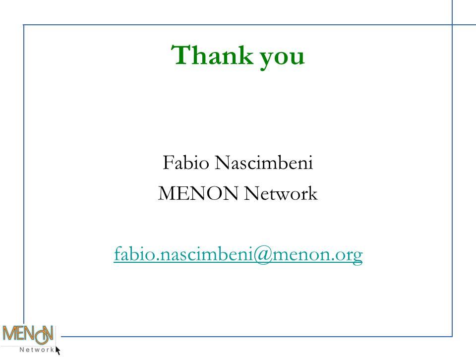 Thank you Fabio Nascimbeni MENON Network fabio.nascimbeni@menon.org