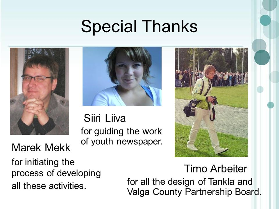Special Thanks Marek Mekk for initiating the process of developing all these activities.