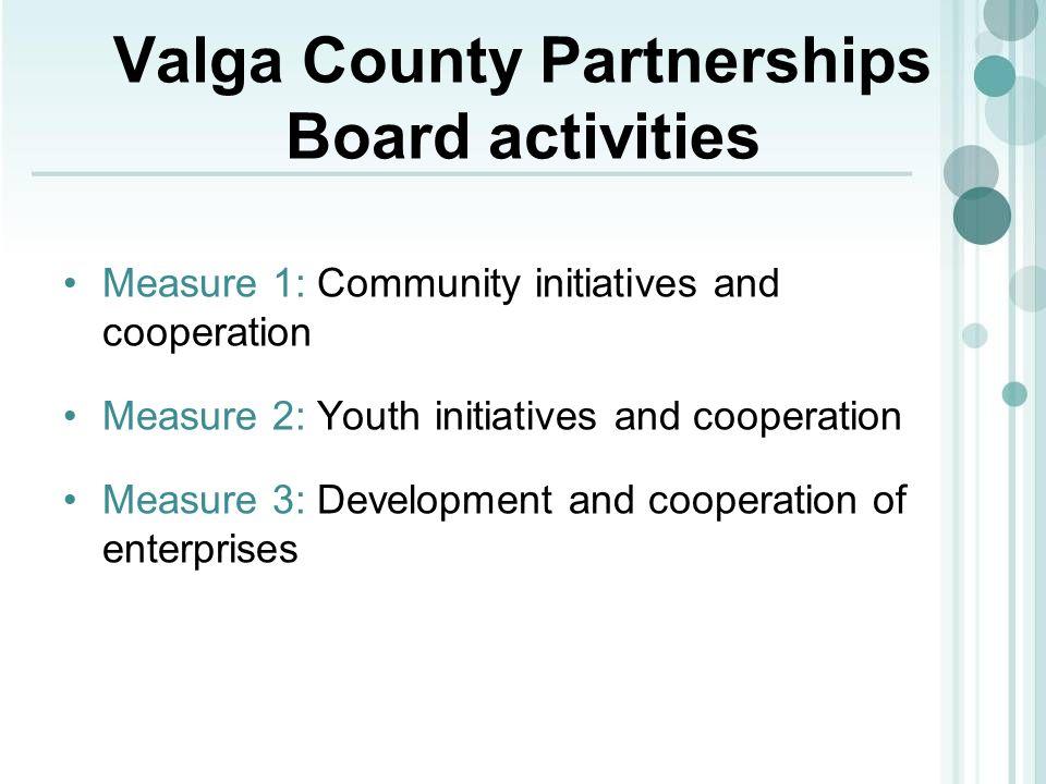 Valga County Partnerships Board activities Measure 1: Community initiatives and cooperation Measure 2: Youth initiatives and cooperation Measure 3: De