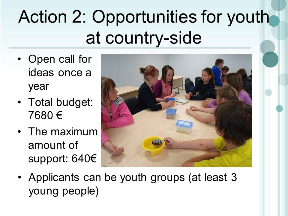 Open call for ideas once a year Total budget: 7680 The maximum amount of support: 640 Action 2: Opportunities for youth at country-side Applicants can