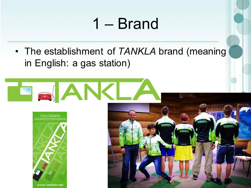 1 – Brand The establishment of TANKLA brand (meaning in English: a gas station)