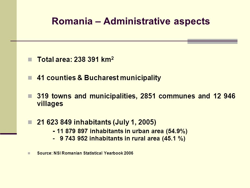 Romania – Administrative aspects Total area: 238 391 km 2 41 counties & Bucharest municipality 319 towns and municipalities, 2851 communes and 12 946