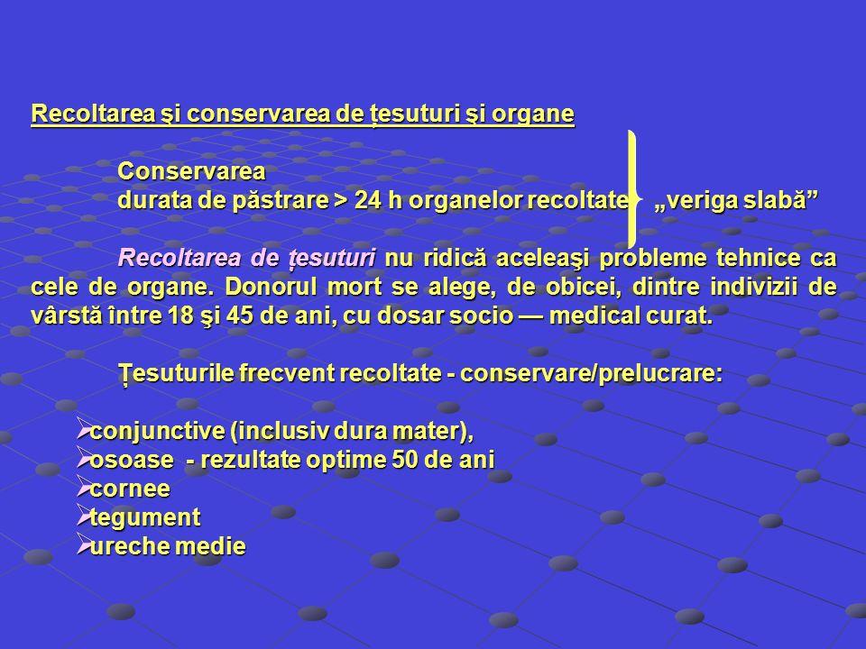 Recoltarea şi conservarea de ţesuturi şi organe Conservarea durata de păstrare > 24 h organelor recoltate veriga slabă Recoltarea de ţesuturi nu ridic
