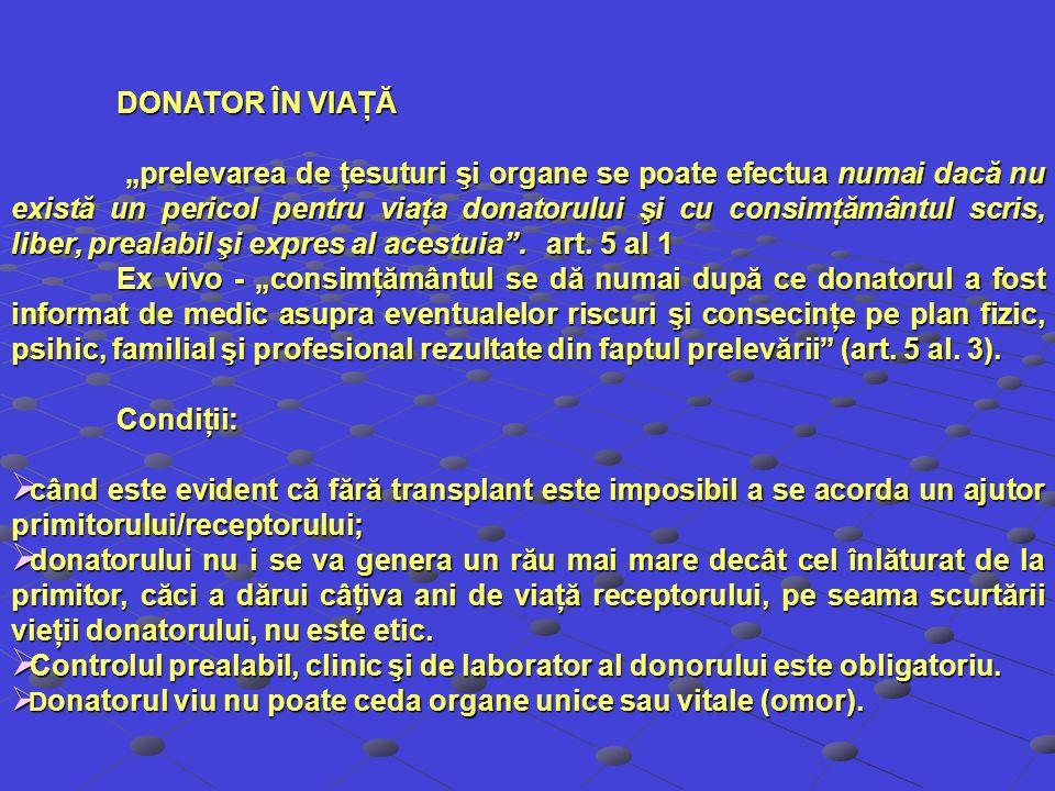 DONATOR ÎN VIAŢĂ prelevarea de ţesuturi şi organe se poate efectua numai dacă nu există un pericol pentru viaţa donatorului şi cu consimţământul scris