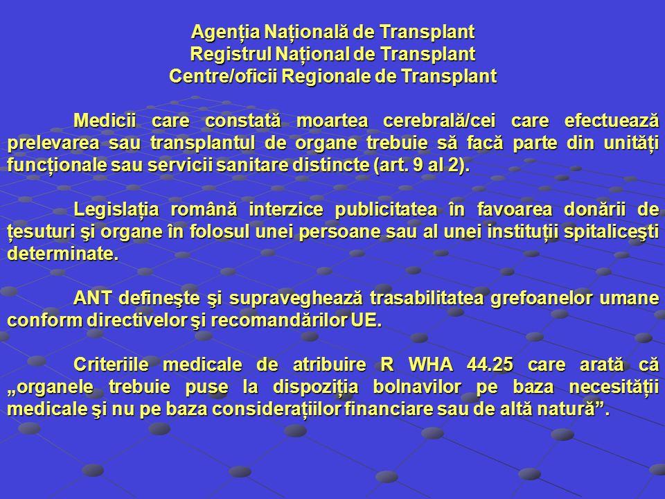 Agenţia Naţională de Transplant Registrul Naţional de Transplant Centre/oficii Regionale de Transplant Medicii care constată moartea cerebrală/cei car