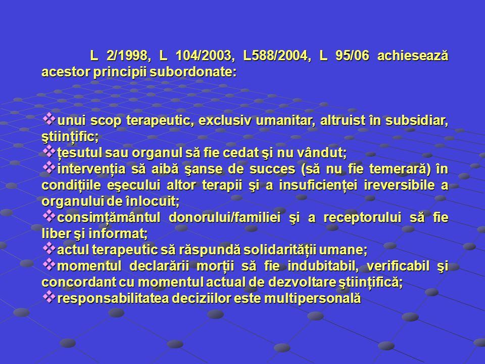 L 2/1998, L 104/2003, L588/2004, L 95/06 achiesează acestor principii subordonate: unui scop terapeutic, exclusiv umanitar, altruist în subsidiar, şti
