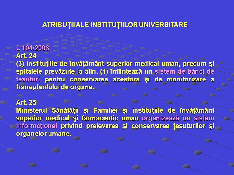 ATRIBUŢII ALE INSTITUŢIILOR UNIVERSITARE L 104/2003 Art. 24 (3) Instituţiile de învăţământ superior medical uman, precum şi spitalele prevăzute la ali
