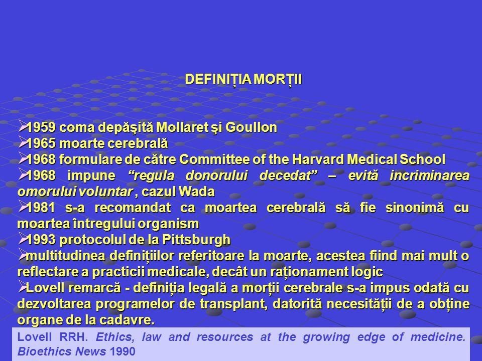DEFINIŢIA MORŢII 1959 coma depăşită Mollaret şi Goullon 1959 coma depăşită Mollaret şi Goullon 1965 moarte cerebrală 1965 moarte cerebrală 1968 formul