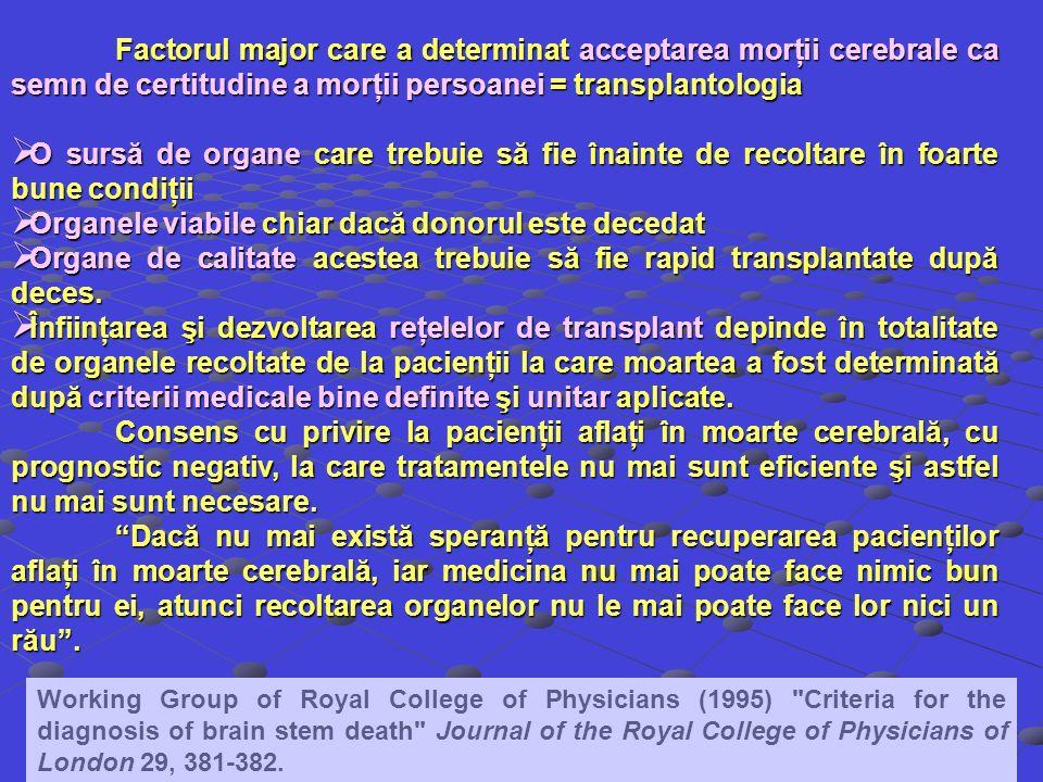 Factorul major care a determinat acceptarea morţii cerebrale ca semn de certitudine a morţii persoanei = transplantologia O sursă de organe care trebu