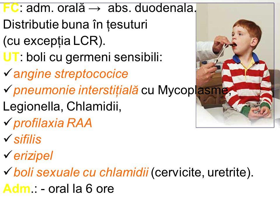 MACROLIDE NOI Bd% crescuta fata de macrolidele vechi SA: larg – asemanator macrolidelor vechi + Toxoplasmoza gondi, H.Py., C.