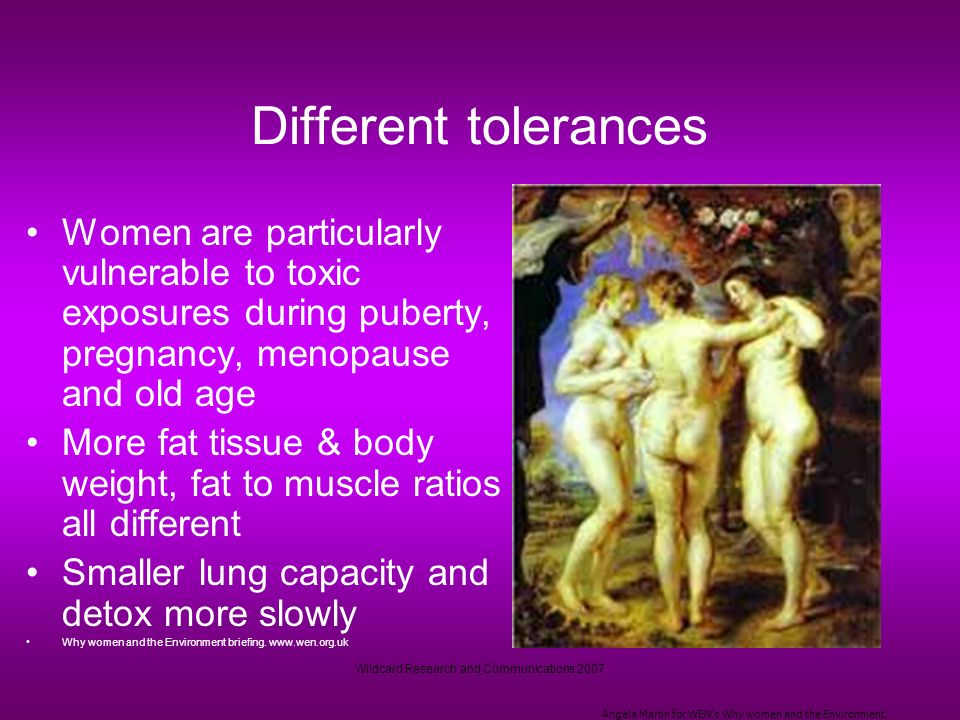 Wildcard Research and Communications 2007 Different tolerances Women are particularly vulnerable to toxic exposures during puberty, pregnancy, menopause and old age More fat tissue & body weight, fat to muscle ratios all different Smaller lung capacity and detox more slowly Why women and the Environment briefing.
