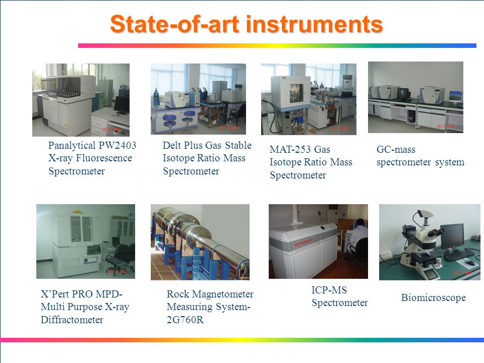 State-of-art instruments Panalytical PW2403 X-ray Fluorescence Spectrometer Delt Plus Gas Stable Isotope Ratio Mass Spectrometer GC-mass spectrometer system MAT-253 Gas Isotope Ratio Mass Spectrometer XPert PRO MPD- Multi Purpose X-ray Diffractometer Rock Magnetometer Measuring System- 2G760R ICP-MS Spectrometer Biomicroscope