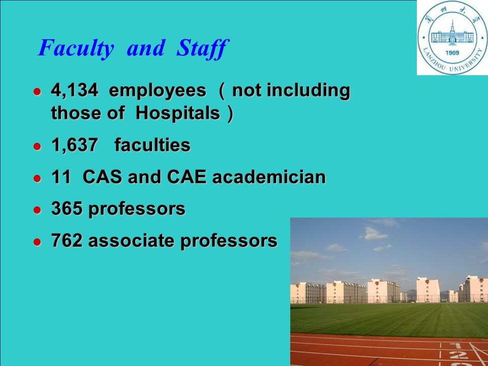 Faculty and Staff 4,134 employees not including those of Hospitals 4,134 employees not including those of Hospitals 1,637 faculties 1,637 faculties 11 CAS and CAE academician 11 CAS and CAE academician 365 professors 365 professors 762 associate professors 762 associate professors May 22,2007