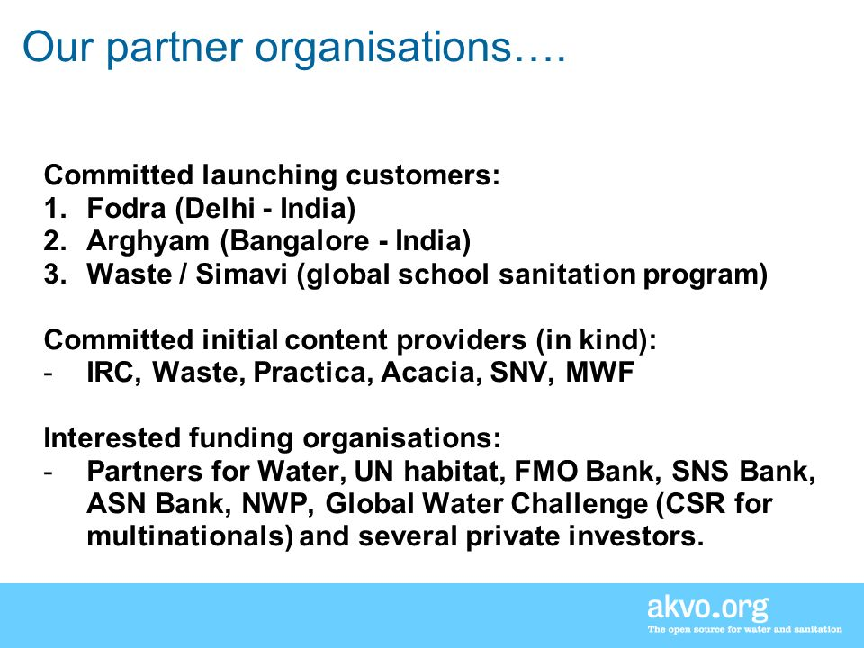 Our partner organisations….