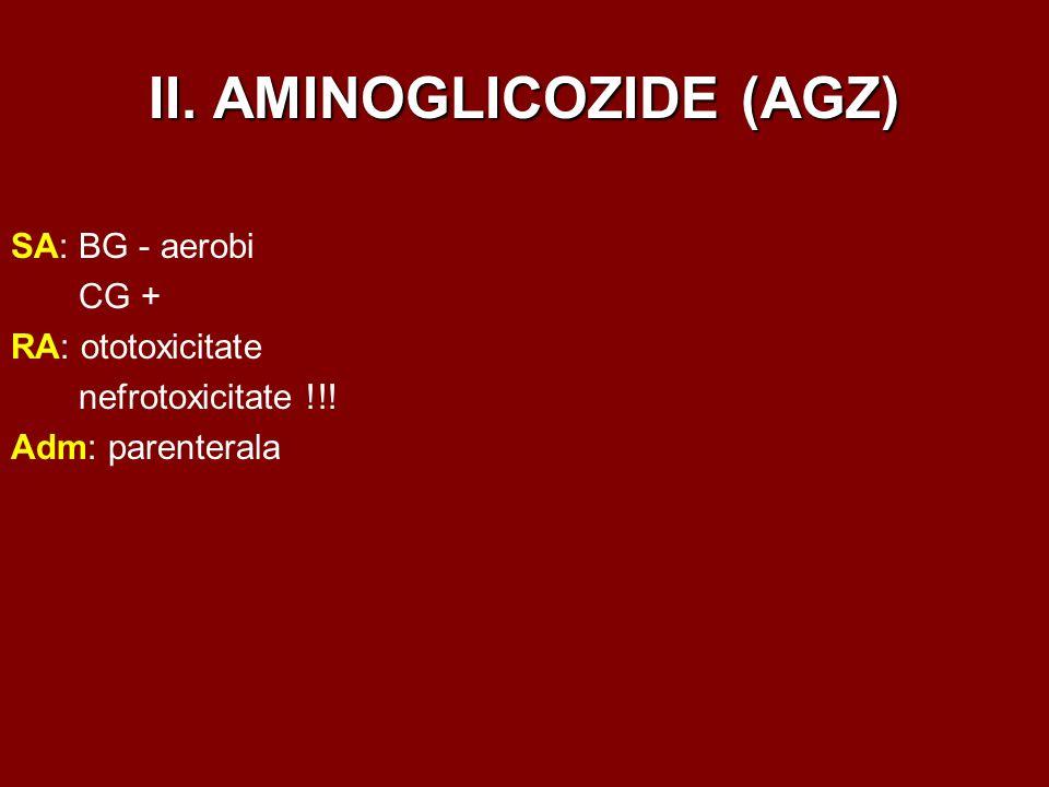 II. AMINOGLICOZIDE (AGZ) SA: BG - aerobi CG + RA: ototoxicitate nefrotoxicitate !!! Adm: parenterala