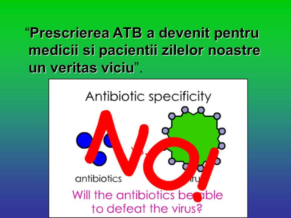 Prescrierea ATB a devenit pentru medicii si pacientii zilelor noastre un veritas viciuPrescrierea ATB a devenit pentru medicii si pacientii zilelor no
