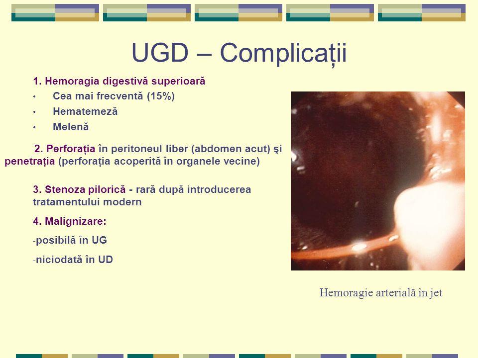 UGD – Complicaţii 1. Hemoragia digestivă superioară Cea mai frecventă (15%) Hematemeză Melenă Hemoragie arterială în jet 2. Perforaţia în peritoneul l