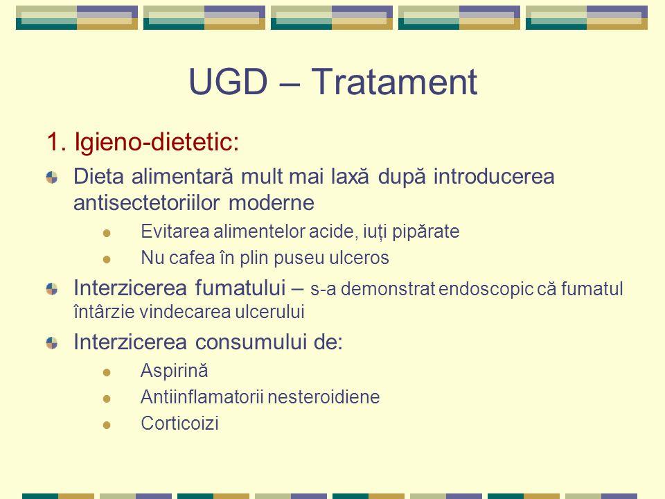 UGD – Tratament 1. Igieno-dietetic: Dieta alimentară mult mai laxă după introducerea antisectetoriilor moderne Evitarea alimentelor acide, iuţi pipăra