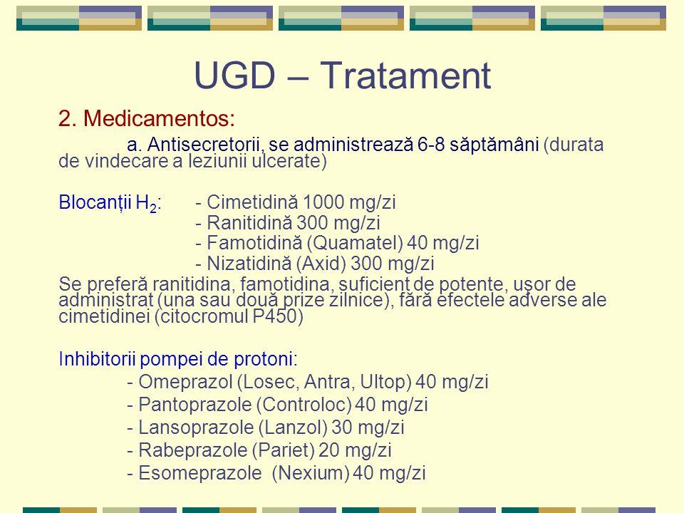 UGD – Tratament 2. Medicamentos: a. Antisecretorii, se administrează 6-8 săptămâni (durata de vindecare a leziunii ulcerate) Blocanţii H 2 : - Cimetid