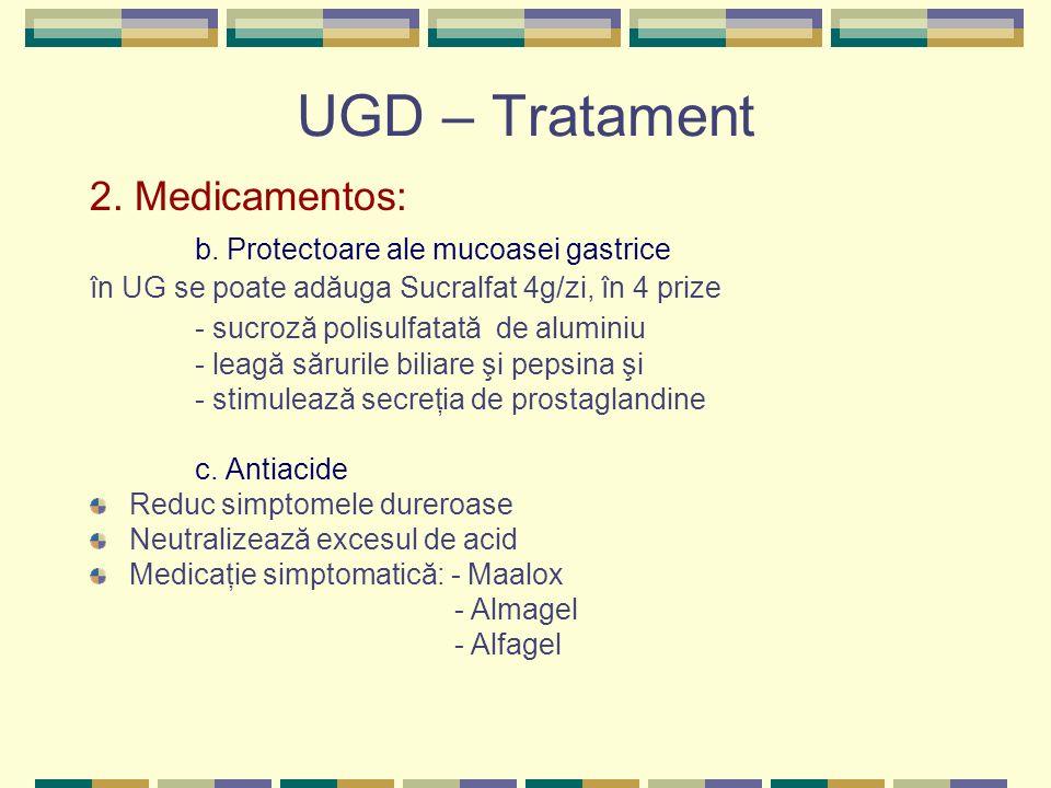 UGD – Tratament 2. Medicamentos: b. Protectoare ale mucoasei gastrice în UG se poate adăuga Sucralfat 4g/zi, în 4 prize - sucroză polisulfatată de alu