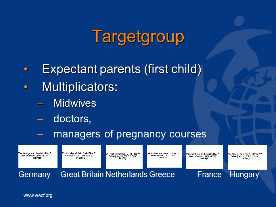 Targetgroup Expectant parents (first child) Expectant parents (first child) Multiplicators: Multiplicators: –Midwives – –doctors, – –managers of pregnancy courses Germany Great Britain Netherlands Greece France Hungary