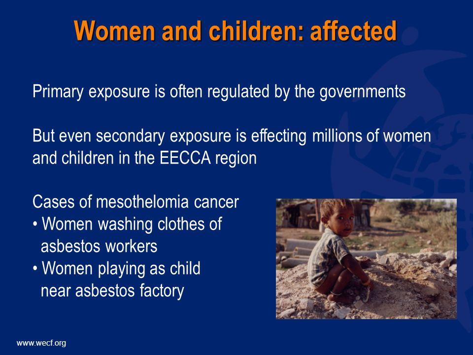 www.wecf.org Primary exposure is often regulated by the governments But even secondary exposure is effecting millions of women and children in the EECCA region Cases of mesothelomia cancer Women washing clothes of asbestos workers Women playing as child near asbestos factory Women and children: affected