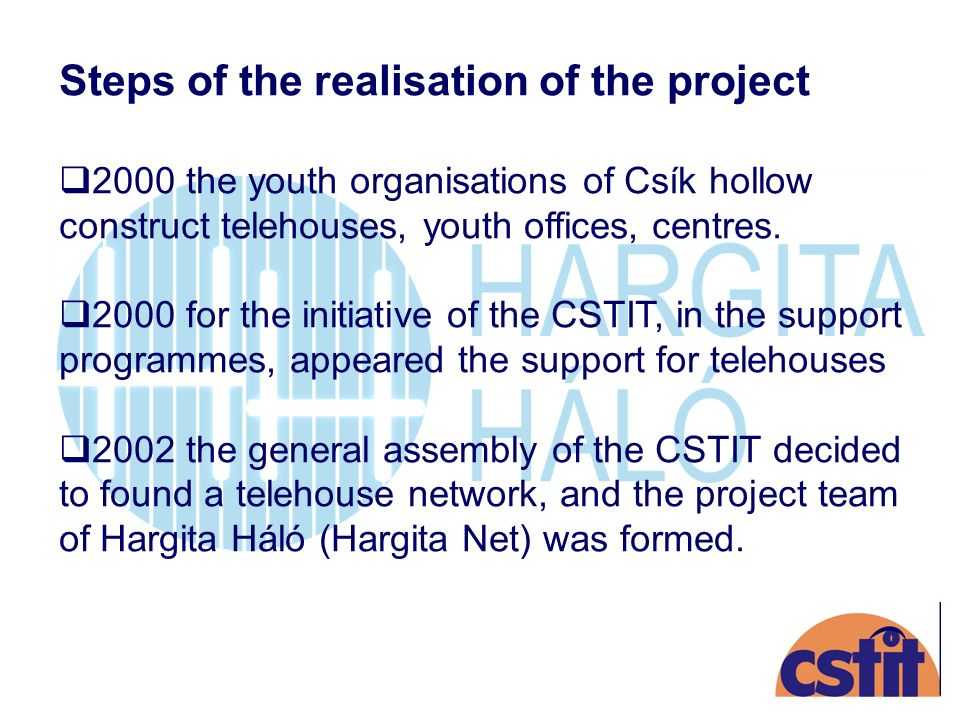 Steps of the realisation of the project 2000 the youth organisations of Csík hollow construct telehouses, youth offices, centres.