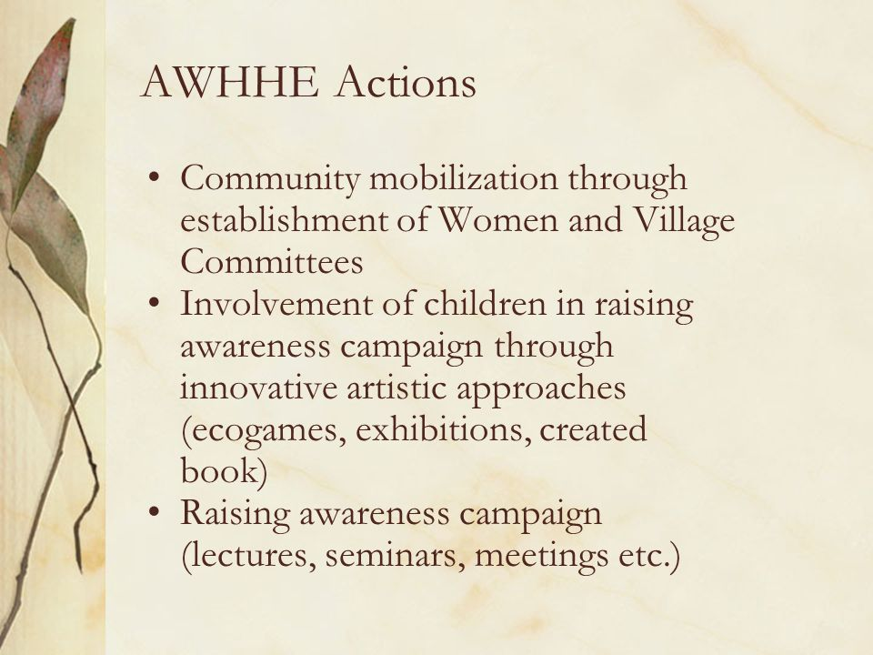 AWHHE Actions Community mobilization through establishment of Women and Village Committees Involvement of children in raising awareness campaign through innovative artistic approaches (ecogames, exhibitions, created book) Raising awareness campaign (lectures, seminars, meetings etc.)