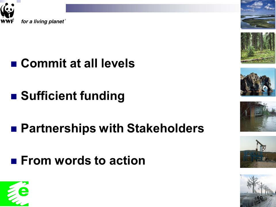 10 Commit at all levels Sufficient funding Partnerships with Stakeholders From words to action