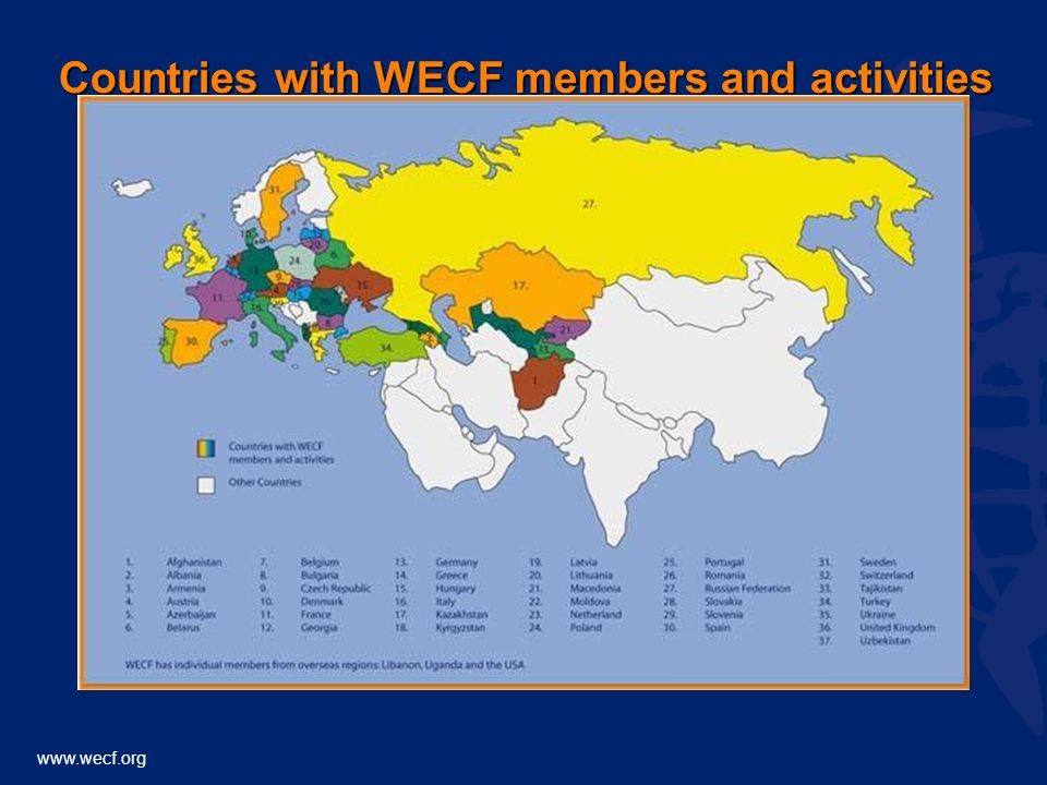 www.wecf.org Countries with WECF members and activities