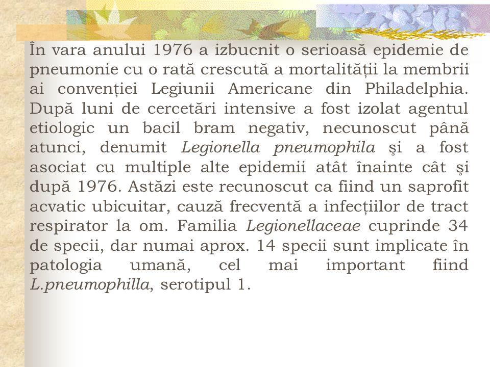 În vara anului 1976 a izbucnit o serioasă epidemie de pneumonie cu o rată crescută a mortalităţii la membrii ai convenţiei Legiunii Americane din Phil