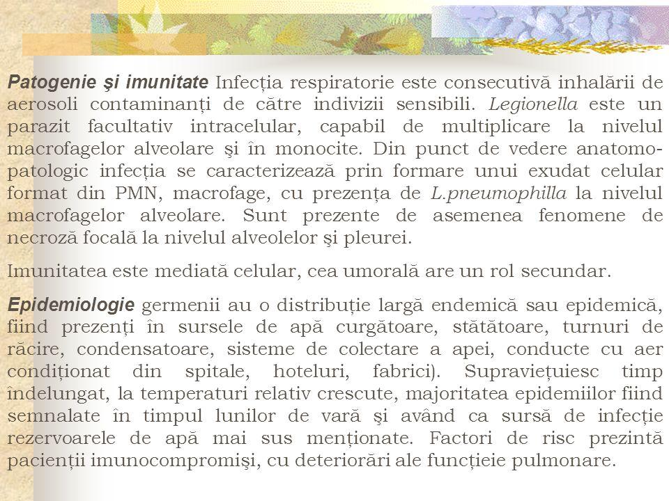 Patogenie şi imunitate Infecţia respiratorie este consecutivă inhalării de aerosoli contaminanţi de către indivizii sensibili. Legionella este un para