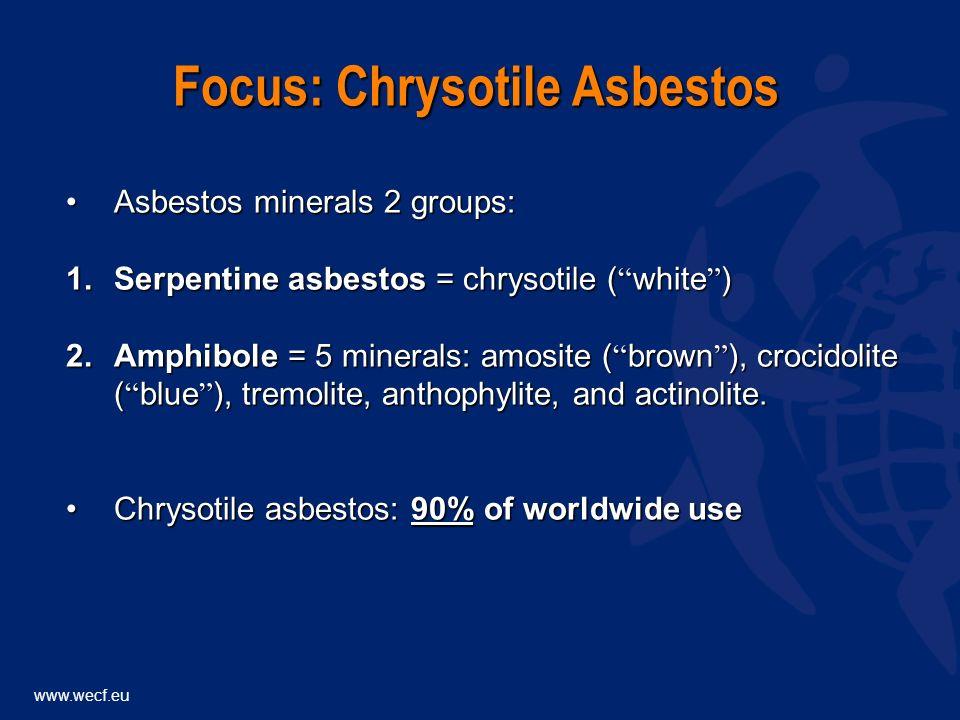 Asbestos minerals 2 groups:Asbestos minerals 2 groups: 1.Serpentine asbestos = chrysotile ( white ) 2.Amphibole = 5 minerals: amosite ( brown ), crocidolite ( blue ), tremolite, anthophylite, and actinolite.