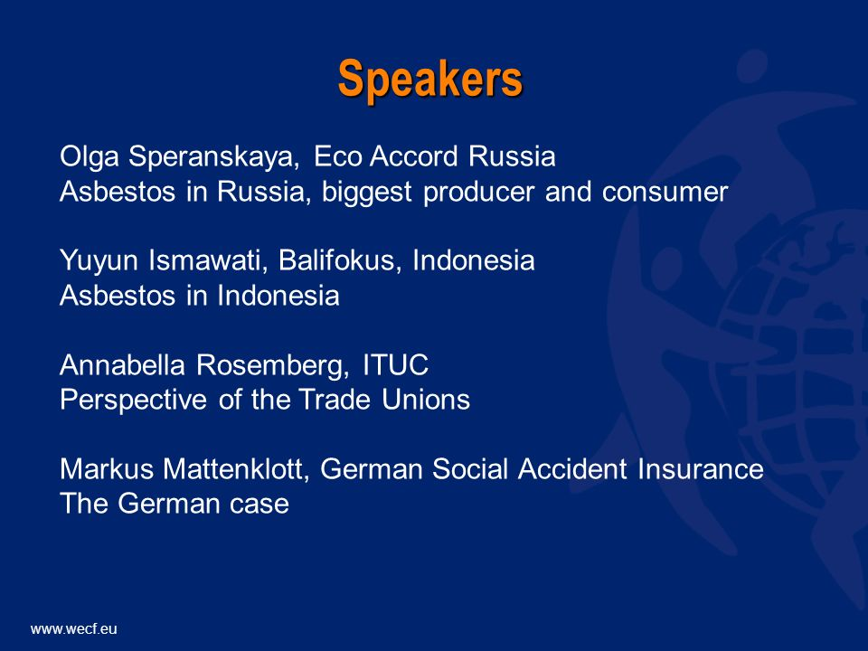 Olga Speranskaya, Eco Accord Russia Asbestos in Russia, biggest producer and consumer Yuyun Ismawati, Balifokus, Indonesia Asbestos in Indonesia Annabella Rosemberg, ITUC Perspective of the Trade Unions Markus Mattenklott, German Social Accident Insurance The German case Speakers
