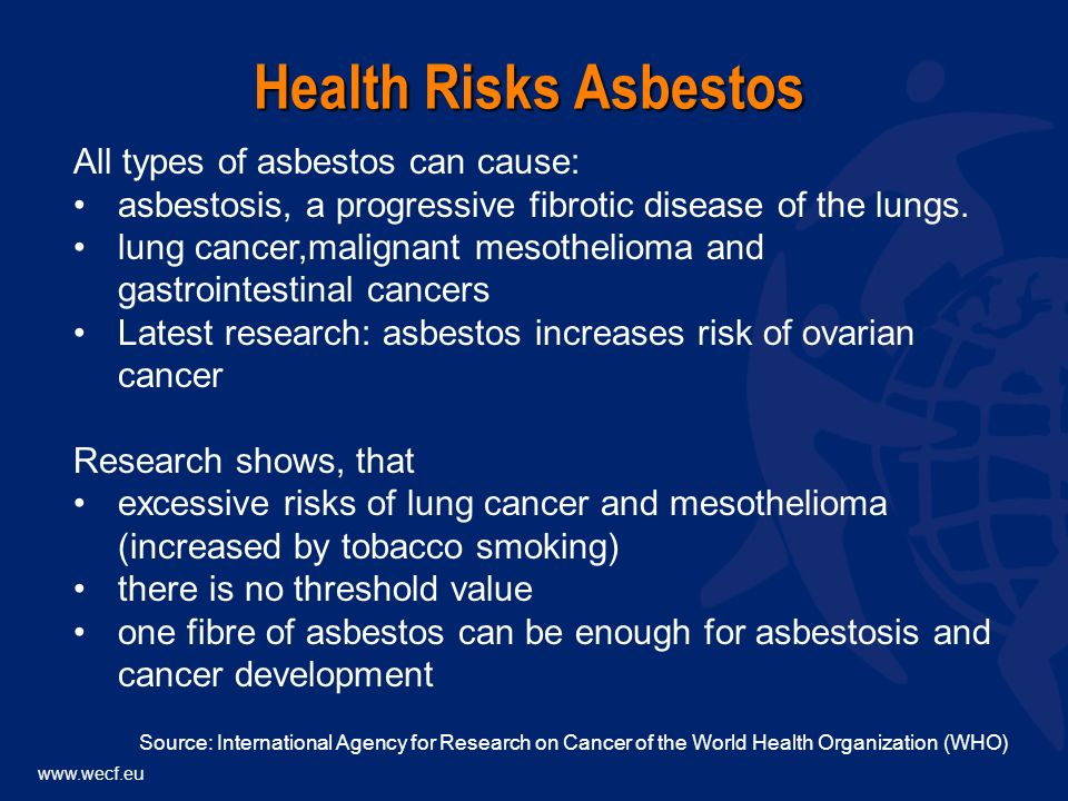 www.wecf.eu All types of asbestos can cause: asbestosis, a progressive fibrotic disease of the lungs.