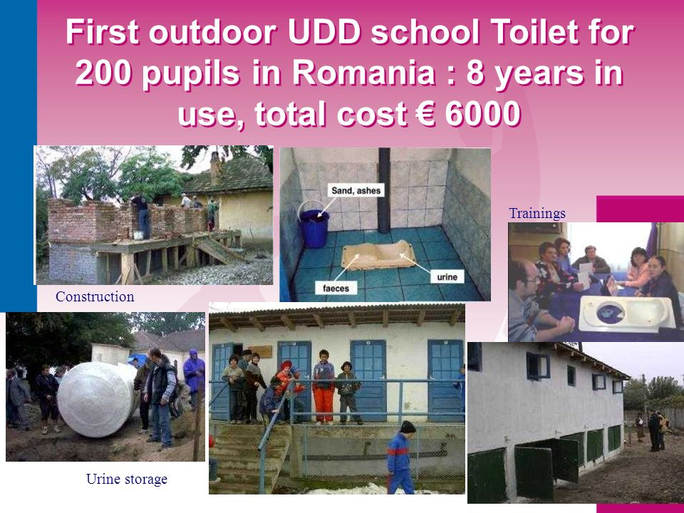 First outdoor UDD school Toilet for 200 pupils in Romania : 8 years in use, total cost 6000 Trainings Construction Urine storage