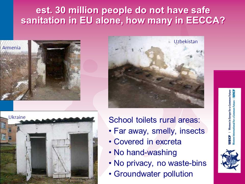 Ukraine Armenia Uzbekistan est. 30 million people do not have safe sanitation in EU alone, how many in EECCA? School toilets rural areas: Far away, sm