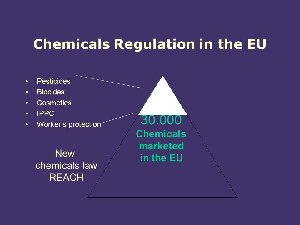 Chemicals Regulation in the EU Pesticides Biocides Cosmetics IPPC Workers protection New chemicals law REACH Chemicals marketed in the EU